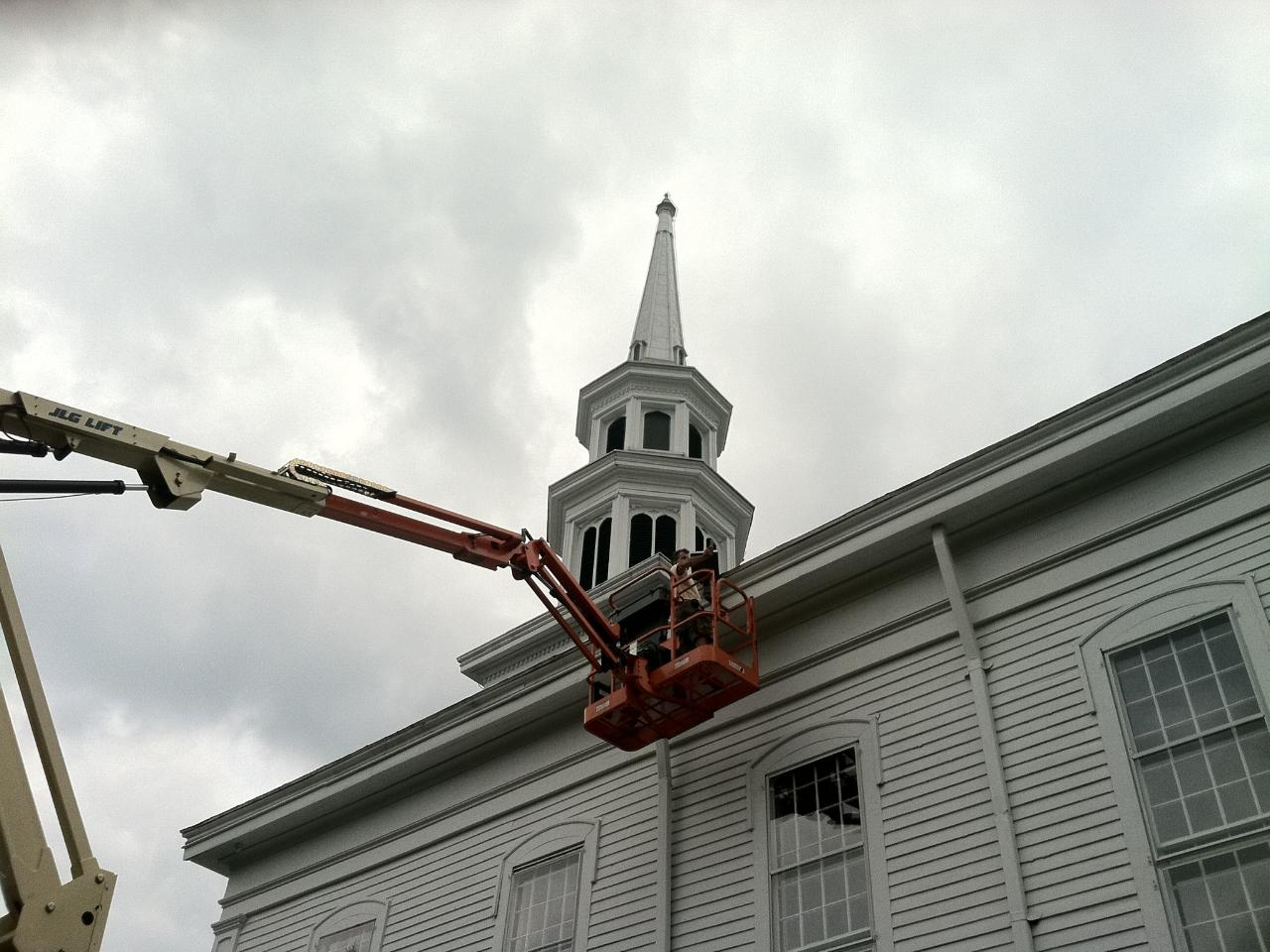 Lighting the Hilltop Church Steeple » Mendham Electric